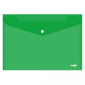 Obal s patentkou PP/A4, priehľadný/zelený