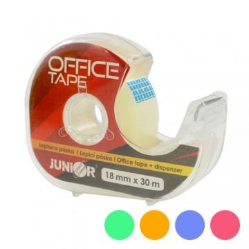 Lepiaca páska JUNIOR s dispenzorom 18 mm x 30 m, mix 5 farieb