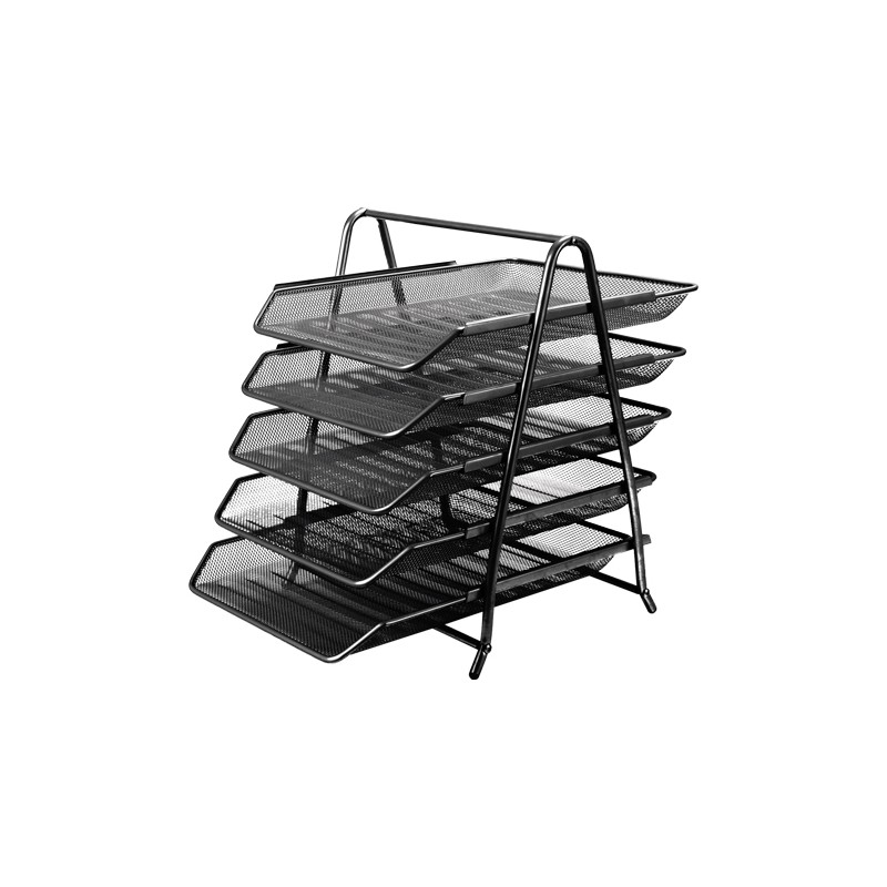 Drôtený stojan s 5 listovými zásuvkami, čierny
