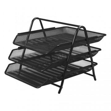 Drôtený stojan s 3 listovými zásuvkami, čierny