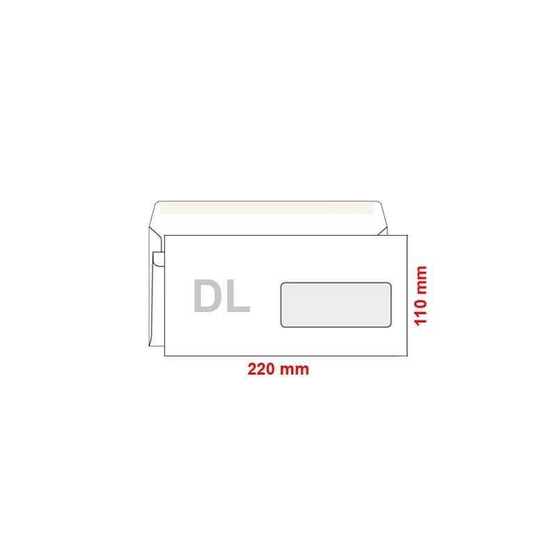 Obálka DL 110x220 mm samolepiaca, s okienkom, 1000 ks
