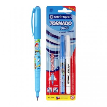 Pero guľôčkové CENTROPEN 2675/2 Tornado Blue + zmizík