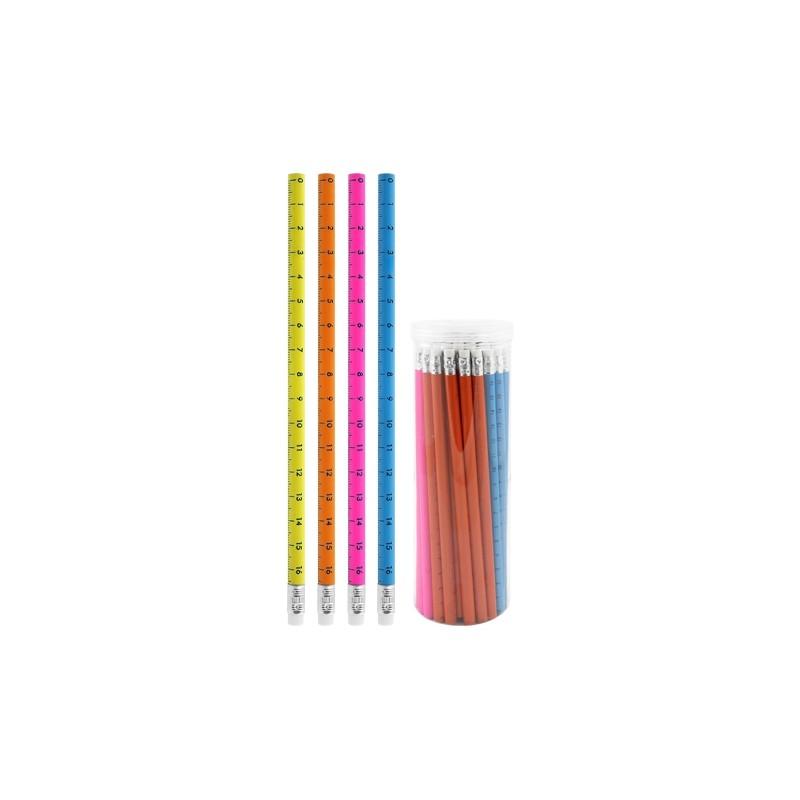 Ceruzka grafitová HB s gumou Ruler, mix/4 farby