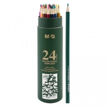 Pastelky šesťhranné M&G v puzdre, sada 24 ks