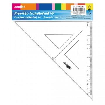 Pravítko trojuholník s ryskou 16 cm, transparentné na blistri