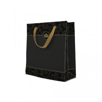 Darčeková taška Premium Gold Crown, medium - 20x25x10 cm