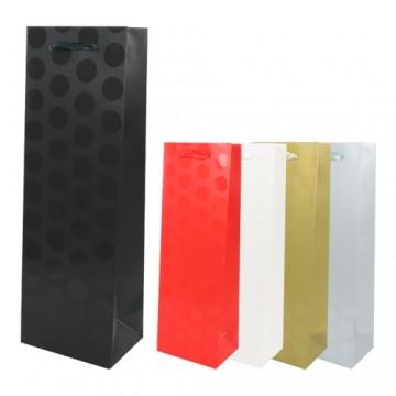Darčeková taška, dots, bottle (36x12x8,5 cm) - mix 5 farieb