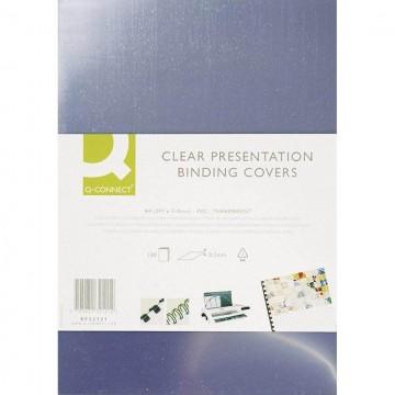 Plastové obálky na krúžkovú väzbu Q-Connect A4 PVC 150mic číre