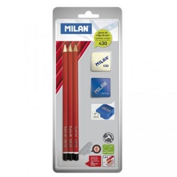 Ceruzka MILAN 3 x šesťhranná HB + guma + strúhadlo