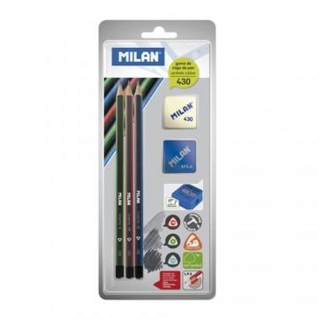Ceruzka MILAN 3 x trojhranná HB/B/2B + guma + strúhadlo