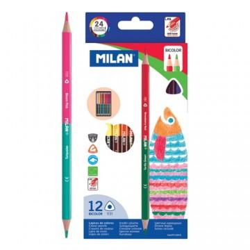 Pastelky MILAN trojhranné obojstranné 12 ks / 24 farieb
