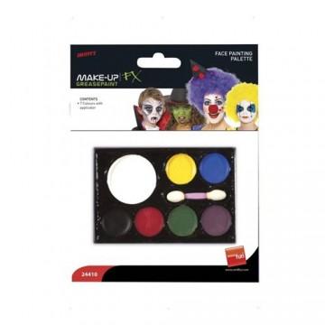Farba na tvár, so špongiou, 7 rôznych farieb