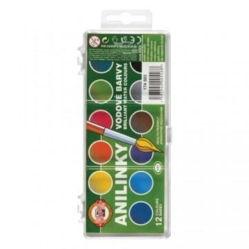Farby vodové/brilantné KOH-I-NOOR Anilinky 22 mm, sada 12 ks