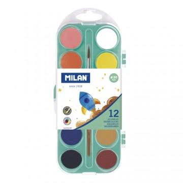 Farby akvarelové MILAN - 12 farieb, 30 mm + štetec