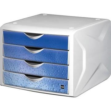 """Zásuvkový box na dokumenty, plastový, 4 zásuvky, HELIT """"Chameleo"""