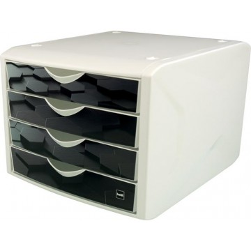 """Zásuvkový box, plastový, 4 zásuvky, HELIT """"Chameleon"""", čierna"""