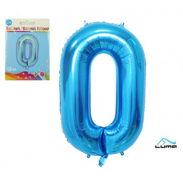 Balónik foliový č. 0 MODRÝ 43cm LUMA