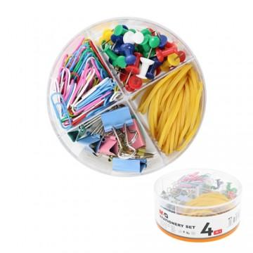 Kancelárska sada M&G 4v1 pripináčiky/binder clip/spony/gumičky,