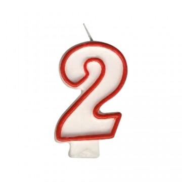 """Sviečka číslová """"2"""" 75 mm"""