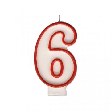 """Sviečka číslová """"6"""" 75 mm"""
