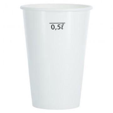 Papierový pohár 630 ml/10 ks - Biely/ryska