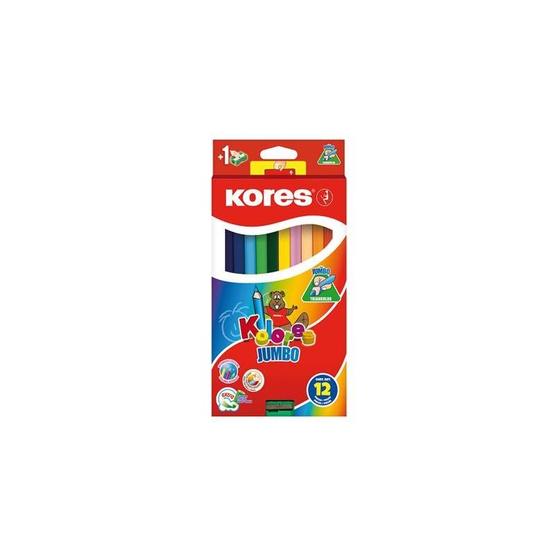 """Farebné ceruzky, trojhranný tvar, hrubé, KORES """"Jumbo"""""""