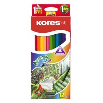Akvarelové ceruzky, so strúhadlom a štetcom, KORES