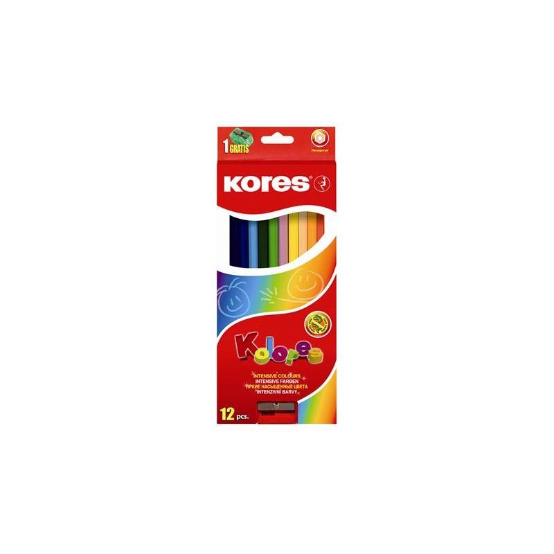 """Farebné ceruzky, šesťhranné, KORES """"Hexagonal"""""""