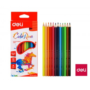 Farbičky DELI trojhranné ColoRun bezdrevé 12 farieb EC00100