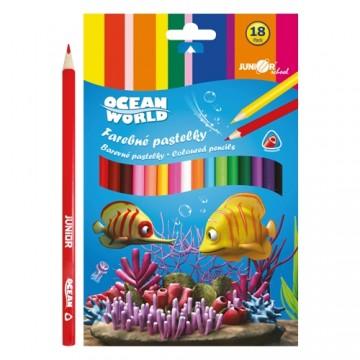 Pastelky Ocean World trojhranné 18 ks